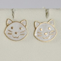 Earrings Yellow Gold Baby 750 18k Stud, Mini Enamel Cats, White Cat image 1