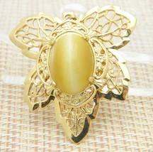 Yellow Tiger's Eye Stone Gold Tone Leaf Necklace Pendant Vintage - $24.74