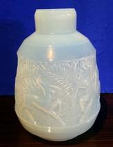 """ETLING Art Deco opalescent  Glass deer hunting etched  vase 14""""h x 9.5"""" ... - $2,802.94"""