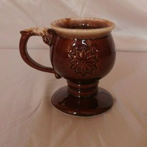 McCoy Pottery Brown Drip Tiara Flower Pattern Pedestal Mug Vintage  - $20.00