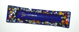 Murano Glass Handmade Mezuzah Case 10 cm w Scroll Dark Blue Murrina Italy image 3
