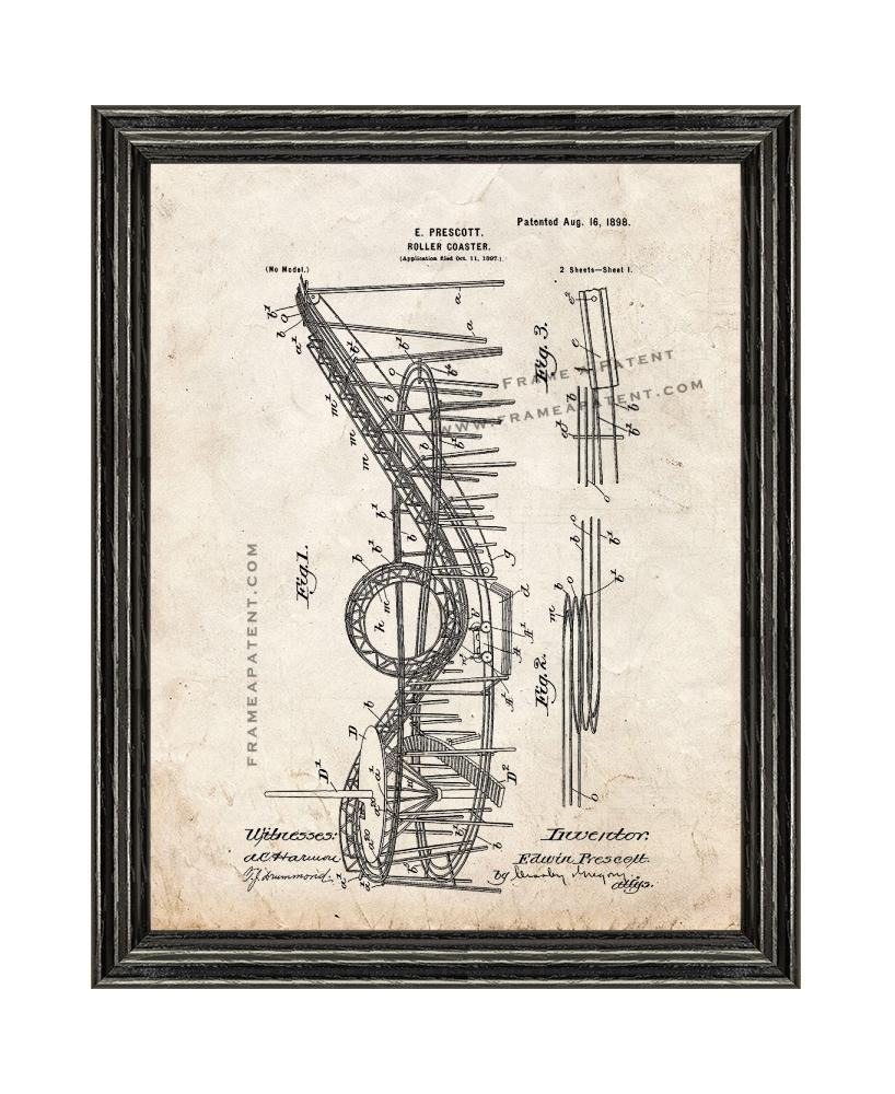 Primary image for Roller Coaster Patent Print Old Look with Black Wood Frame