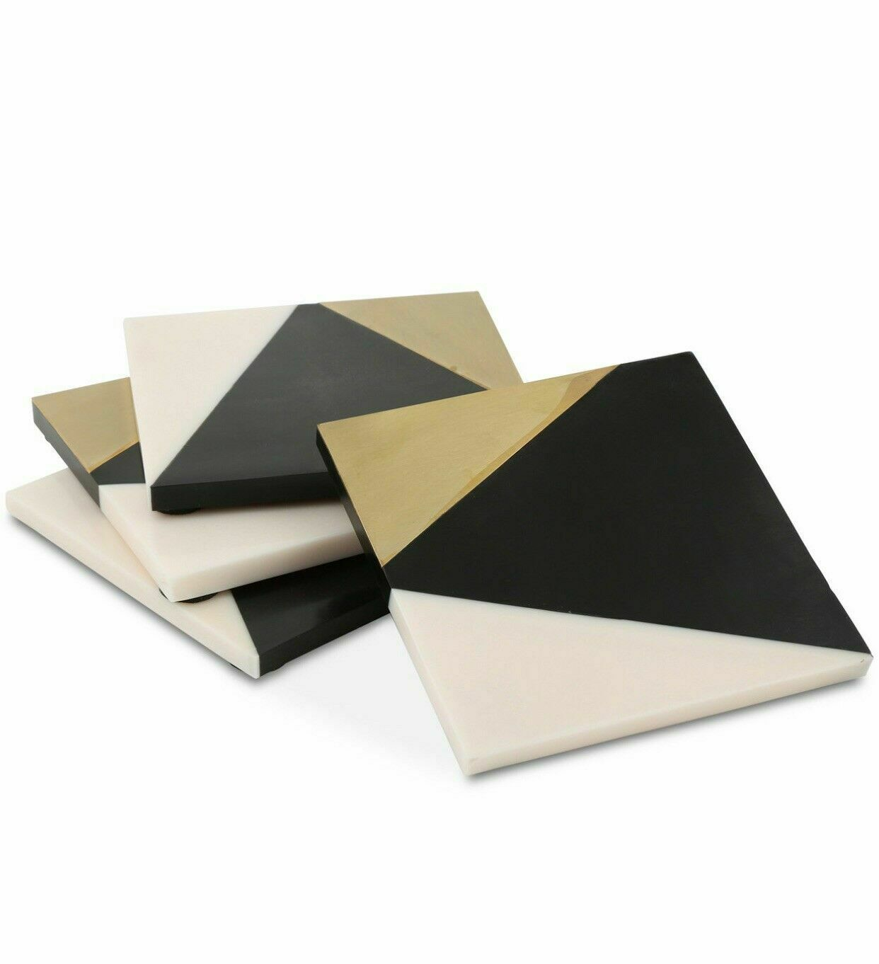 Thirstystone Geometric Resin & Metal Tri-tone Beverage Coasters Black (Set of 4)