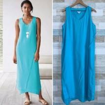 Pure J Jill Love Linen Asymmetric Panel Maxi Dress Blue Lagenlook Womens... - $49.49