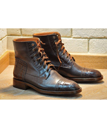 Handmade men boots  formal alligator crocodile texture leather men brown ankle boot thumbtall