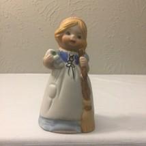 Jasco Merri Bells Girl Porcelain Bell Hand Painted 1978 - $20.00