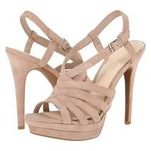 "JESSICA SIMPSON Peace Strappy Sandals 5.5"" Heels Nude Beige Suede Women'... - $29.69"