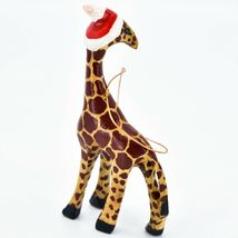 Hand Carved Painted Jacaranda Wood Santa Hat Giraffe Safari Christmas Ornament image 3