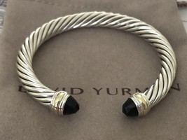 David Yurman 925 Silver & 14k Gold 7mm Cable Classic Black Onyx Cuff Bracelet  - $395.01