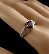 Sterling 1ct GARNET Ring - Sweetheart gift - red heart ring - Size 7 - vintage s image 3