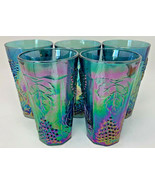 "5 Indiana Glass Colony Harvest Blue Carnival Glass 5 3/4"" Tumblers 19-2128 - $66.45"
