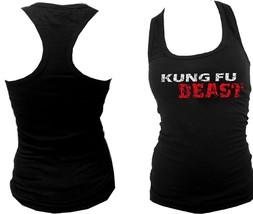 Kung fu Kungfu Beast distressed print MMA black women or teens slim fit tank top - $14.99