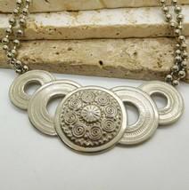 Retro Silver Tone Layered Ball Bead Chain Boho Open Circle Bib Necklace ... - $20.99