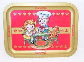 1998 CAMPBELL'S SOUP KIDS & TEDDY BEAR METAL FOOD TRAY GUC - $12.99
