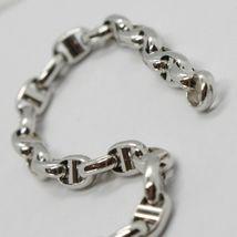 White Gold Bracelet 18k 750 Knitted Stud Made in Italy 21 cm long image 4