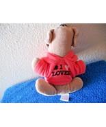 "Sharpei Wrinkle Dog 8"" Lgth  With #1 Lover Hoodie Plush Stuffed Animal Toy - $5.05"