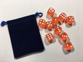Ten Piece - Six Sided Dice Set & Bag - Tangerine Clear / White Die Pips ... - $6.60