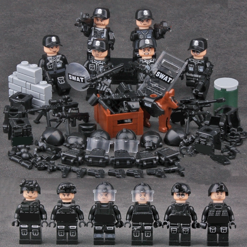 6pcs SWAT Military Army World War 2 Navy Seals Special Forces Team Fit Lego for sale  USA