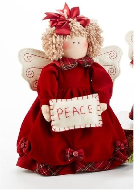 Delton Products Christmas 12 Tartan Angel Stump with Peace Sign Plush Puppet