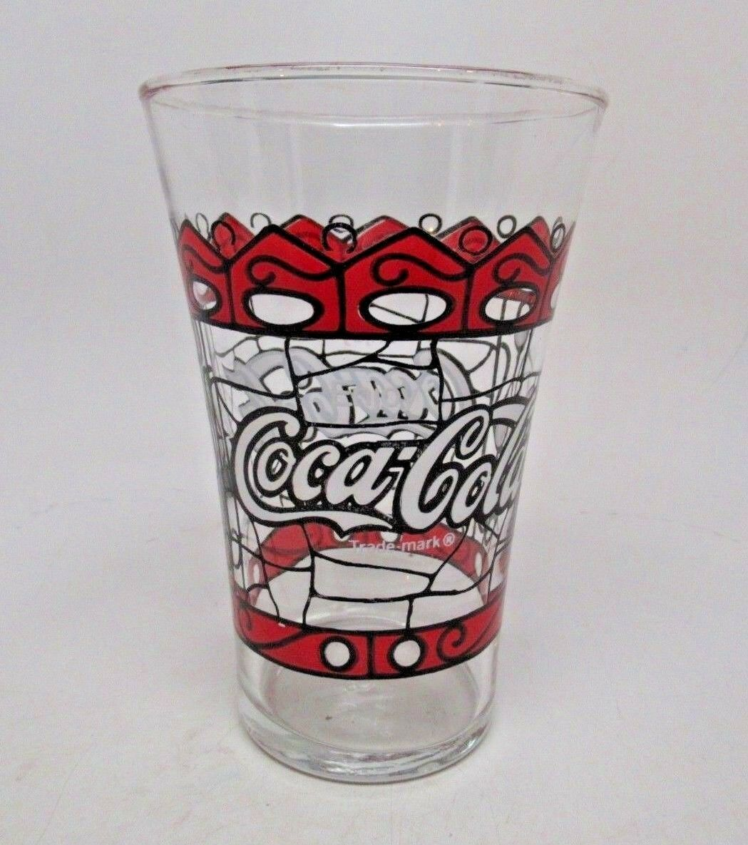 Vintage Coca Cola Stain Glass Style Coke Drinking Glass