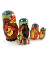 Disney The Lion King Matryoshka Russian Nesting Doll 7 Pieces Signed - $49.31