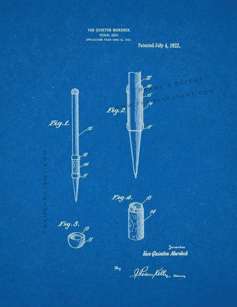 Primary image for Pencil Grip Patent Print - Blueprint