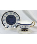 Crown Staffordshire Blue Rose Tea Cup And Saucer Set - $27.71