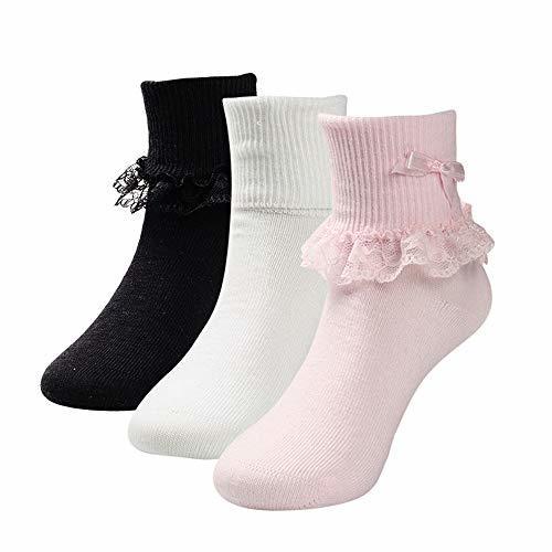 COTTON DAY 3 Pairs Toddler Baby & (M: Shoe Size 10-13|Pink White Black)