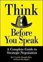 Think Before You Speak [Hardcover] Lewicki, Roy J. image 1