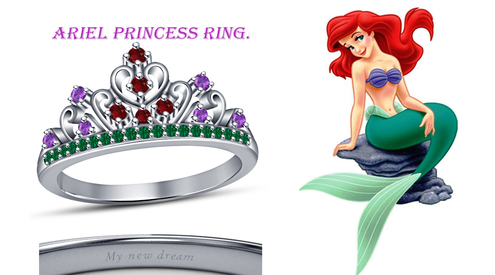 White Gold Fn Disney Princess Ariel Wedding Engagement Crown Ring For Christmas image 2