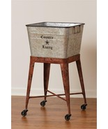 COUNTRY LIVING new large metal tub on wheels  - $128.00