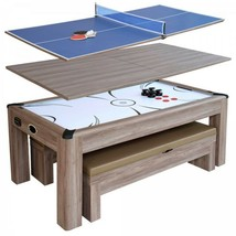 Combo Game Table Brown 7ft Air Hockey with Table Tennis Conversion Top 2... - $1,716.53