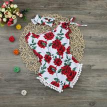 Newborn Kids Baby Girl Floral Romper Jumpsuit Sunsuit+Headband Outfi - $16.70