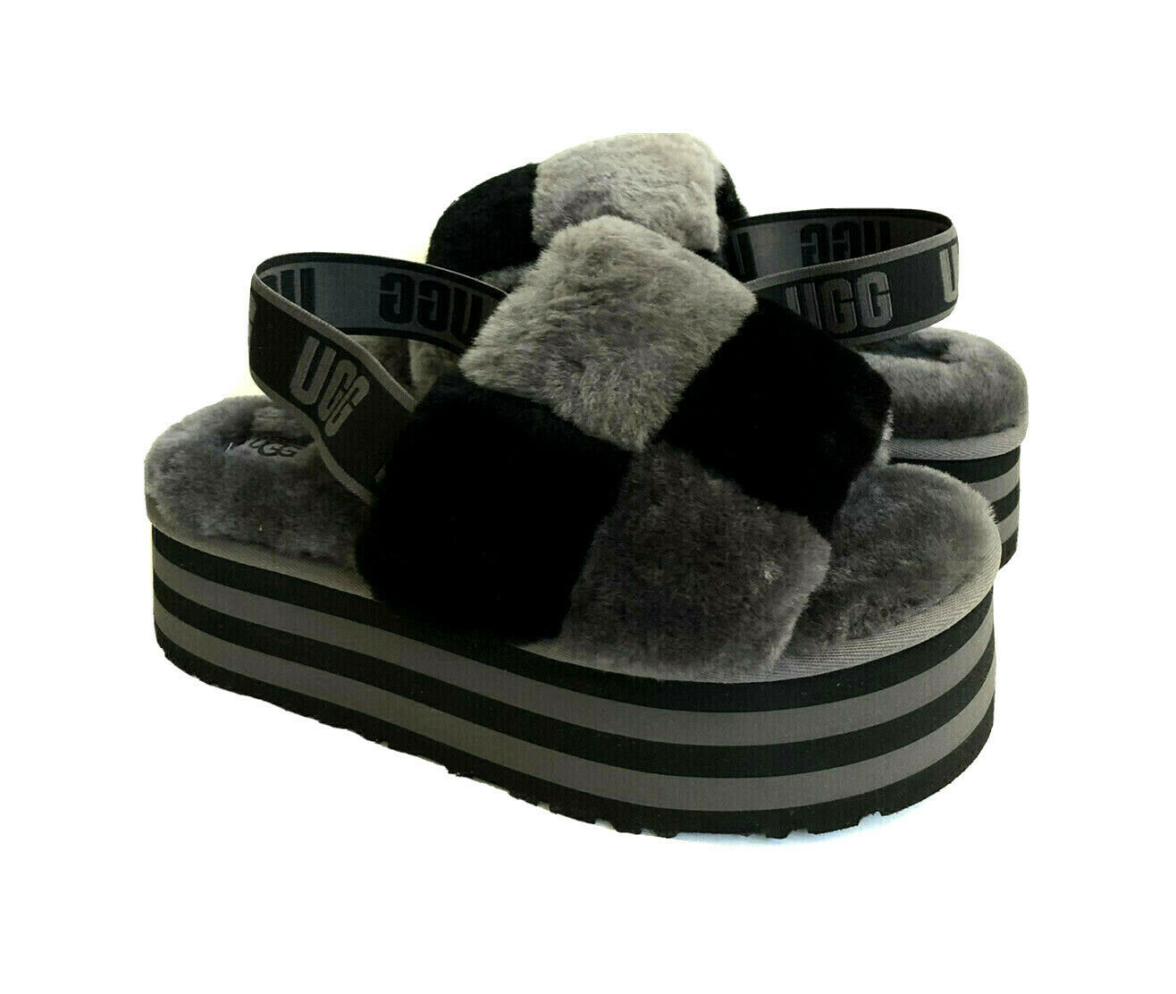 Primary image for UGG FLUFF YEAH DISCO CHECKER SLIDE BLACK / DARK GREY SANDAL US 7 / EU 38 / UK 5