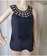 $49.00 Jessica Simpson Fringe Front Crochet Detailing Sleeveless Top, Bl... - $14.11