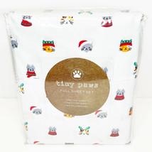 NEW CAT PRINT TWIN SHEET SET BY TINY PAWS SANTA REINDEER CHRISTMAS - $32.35