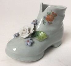 Miniature Porcelain Boot Shoe With Capodimonte Flower and Decals Germany - $14.80