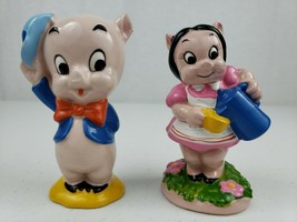 RARE 1977 Petunia & 1975 Porky Pig Warner Bros Japan Ceramic Porcelain Figurines - $77.65