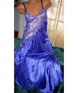 Cross Dyed Lace Long Nightgown 4X Nylon Cobalt Blue Lingerie Slit - $23.00