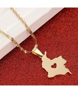 Colombia Map Pendant Necklace for Women Gold Color Jewelry Map of Colomb... - £15.52 GBP