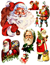 Vintage santas claus die cut clipart Christmas craft digital download pr... - $3.00