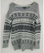 American Eagle Gray, Black, & White Fair Isle Oversized Sweater Size Medium - $14.01