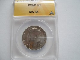Kennedy Half Dollar , 1971-D , MS 65 , ANACS Certified - $15.00