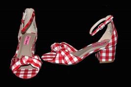 Betsey Johnson Red White Checkered Ankle Strap Block Heel Wms 5.5 Sandal... - $59.99