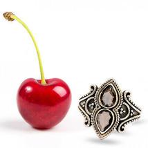 Shine Jewel Very Antique & Handmade 7x5 mm Pear Shape Smokey Quartz Ring - $22.26