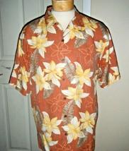 Tommy Bahama Mens Silk Brown Tropical Print Shirt Size M - $38.69