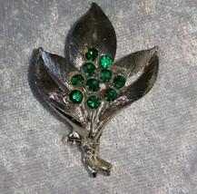 Three leaf brooch pin Emerald green rhinestones floral bouque so Downton... - $15.00