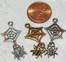 SPIDER WEB WITH DANGLING SPIDER FINE PEWTER PENDANT CHARM - 16x32x2mm image 2