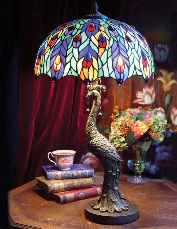 """Victorian Tiffany Stained Glass Jeweled Peacock Table Lamp Light Base 28""""H"""