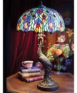 "Victorian Tiffany Stained Glass Jeweled Peacock Table Lamp Light Base 28""H - $350.00"